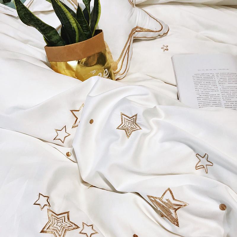 简约北欧风星星刺绣60支贡缎四件套全棉烫钻白色被套1.8m床上用品