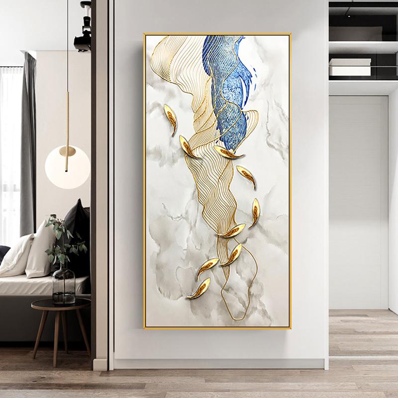 现代简约金色轻奢装饰画 九鱼图力争上游 手绘油画 玄关过道挂画