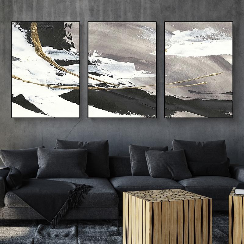 现代简约抽象金色黑白装饰画 玄关过道连廊挂画 手绘油画 浪花