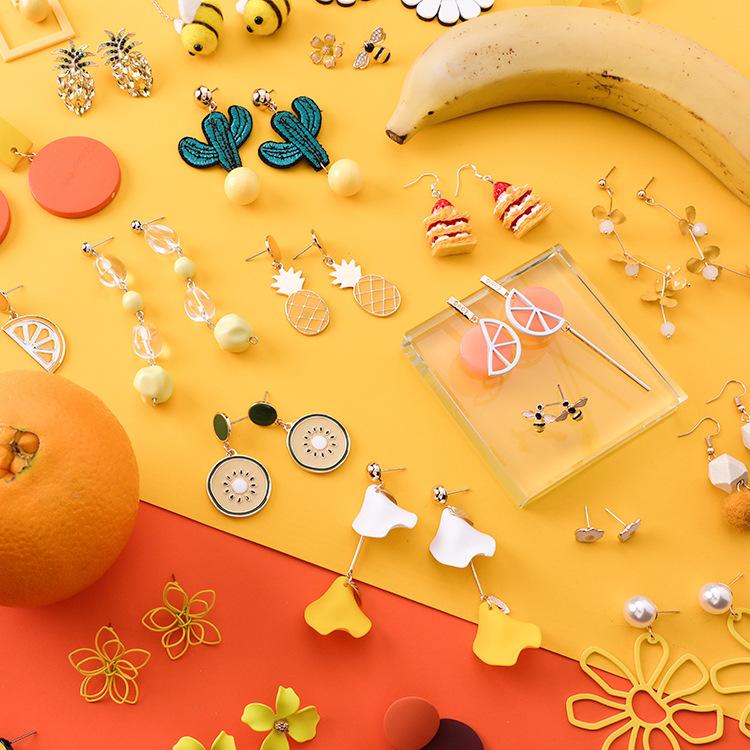 2019新款潮夏日耳环女长款韩国气质时尚夸张个性耳钉黄色柠檬耳坠