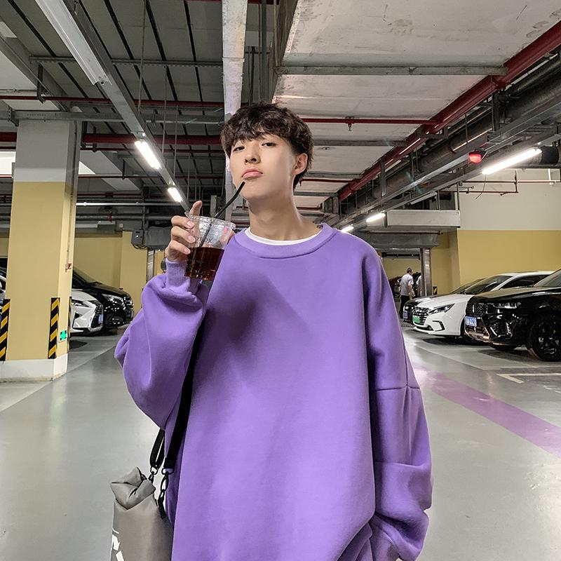 二更春秋季圆领卫衣男士大码套头上衣胖子宽松外套学生韩版潮男装
