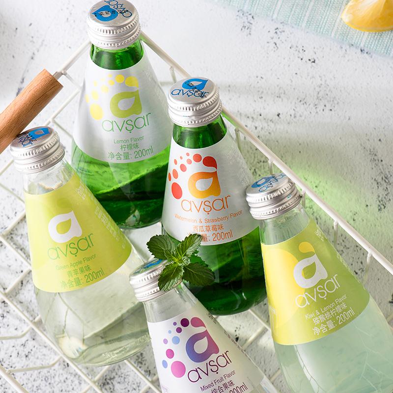 土耳其进口Hamu矿泉气泡水avsar草莓汽水高颜值玻璃瓶饮料200ml*4