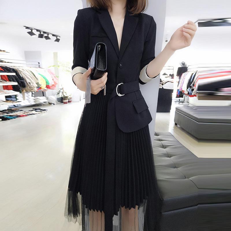 欧洲站裙子夏装女装2018新款欧货潮秋装韩版名媛气质中长款连衣裙