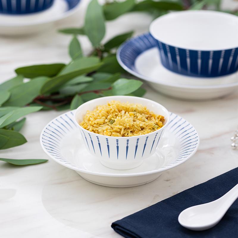 松发陶瓷中式简约碗碟餐具套装家用碗碟盘组合现代轻奢高颜值礼盒