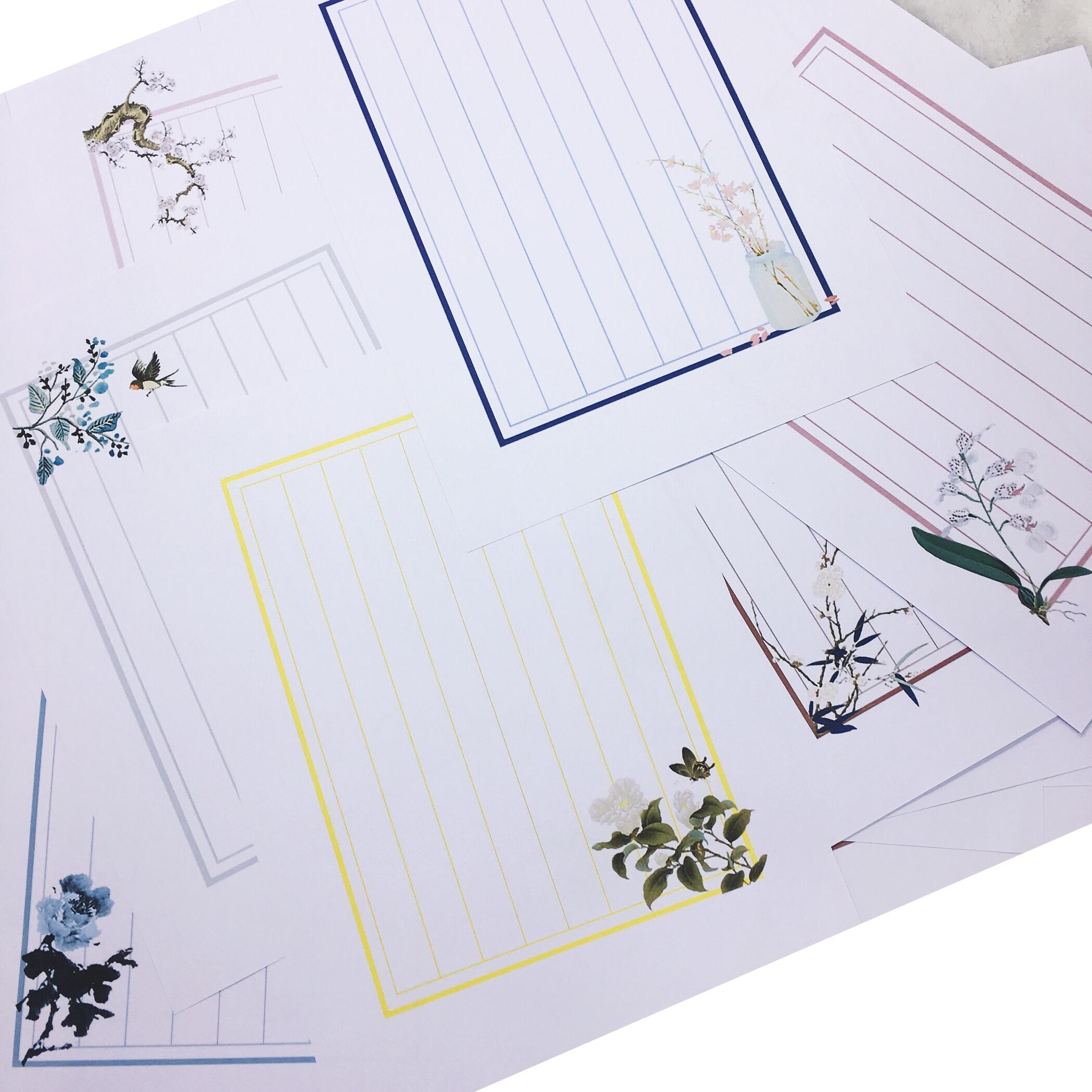 传统中国风中式信纸 素八行信笺 复古风竖版古典信纸100张入图片