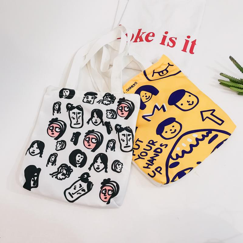 日韩软妹帆布包可爱学生手提包百搭休闲购物袋2018新款单肩包女包
