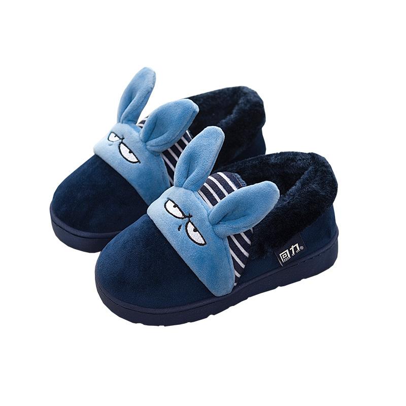 回力儿童棉拖鞋冬季可爱卡通兔子男童中大童包跟棉鞋女童家居拖鞋