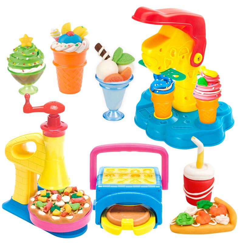小麦彩泥橡皮泥安全无毒无味儿童手工DIY玩具汉堡冰淇淋雪糕机