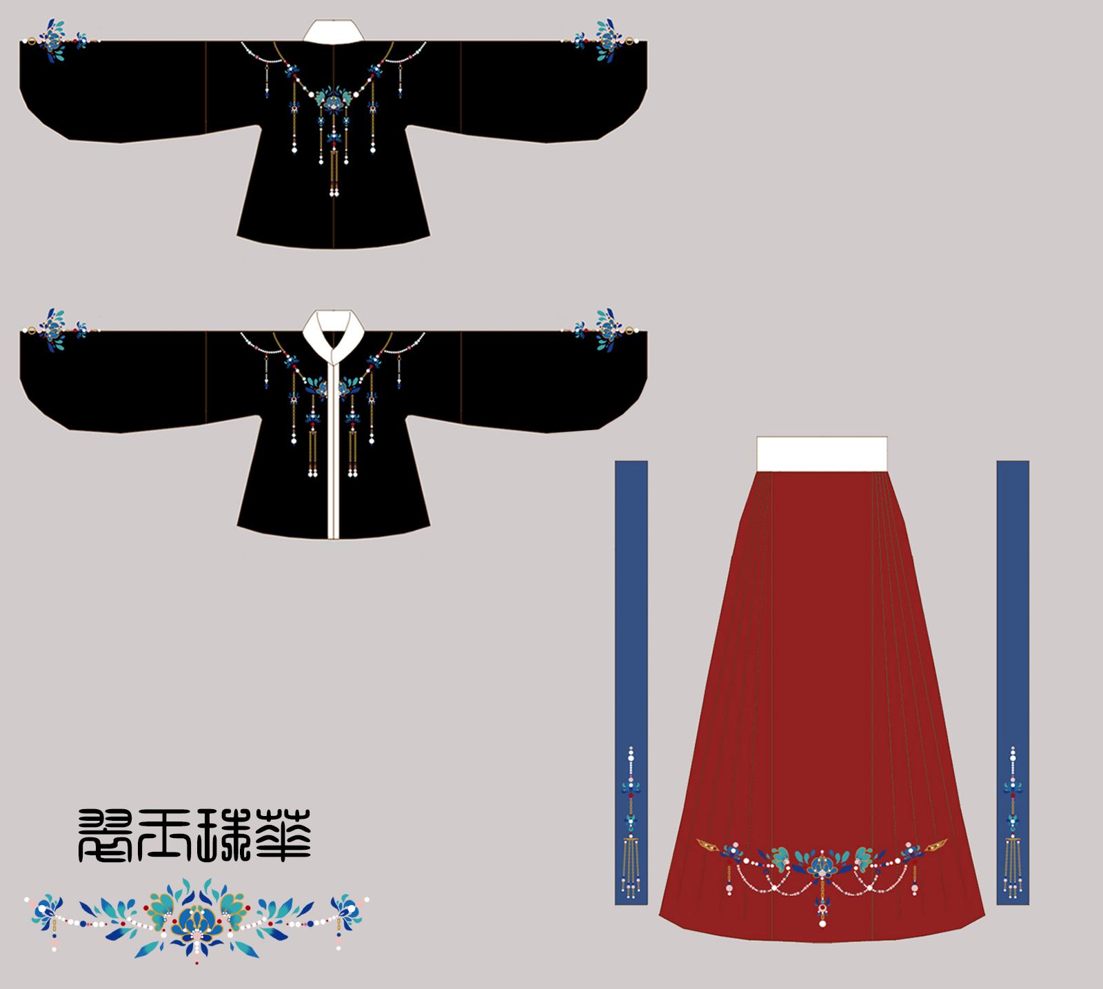 定制 明制立领袄裙马面裙 原创传统汉服女 【兰芷玲珑图片