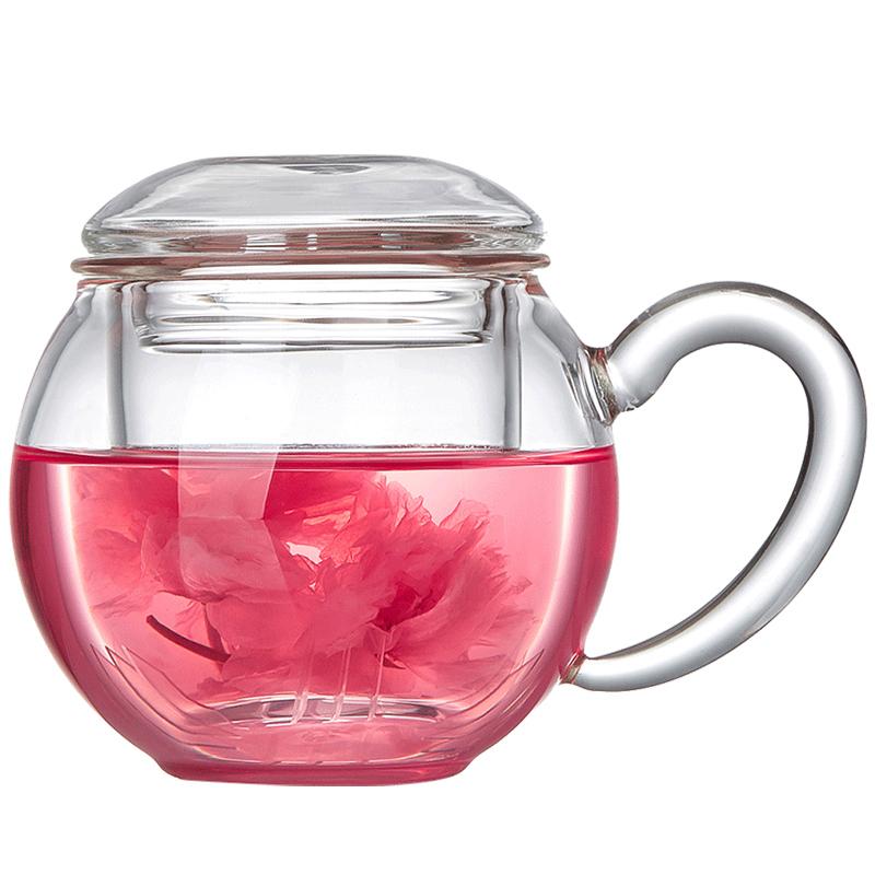 美斯尼玻璃茶杯带把盖过滤家用办公女花茶杯透明茶水分离泡茶杯子