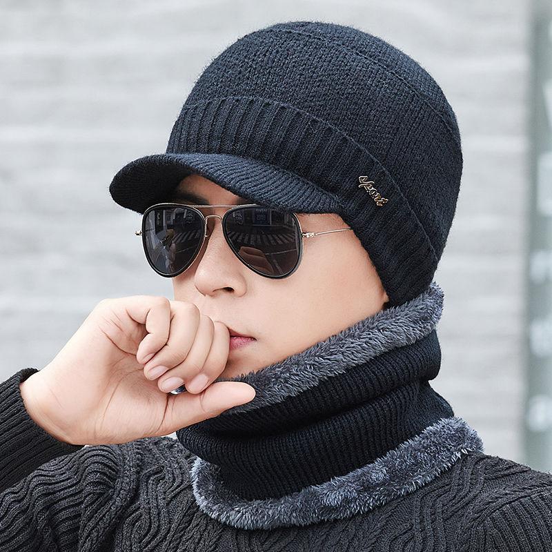 帽子男冬天韩版男士加绒加厚针织帽骑车保暖帽防风毛线帽青年