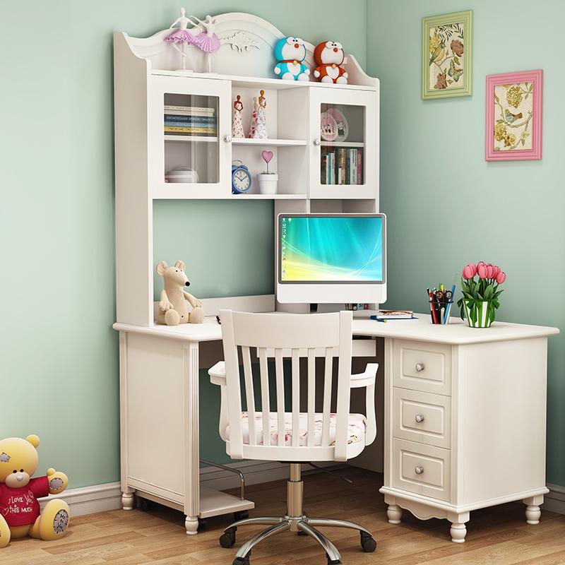 1米转角电脑桌实木儿童书桌书架组合女孩家用卧室书柜一体写字台