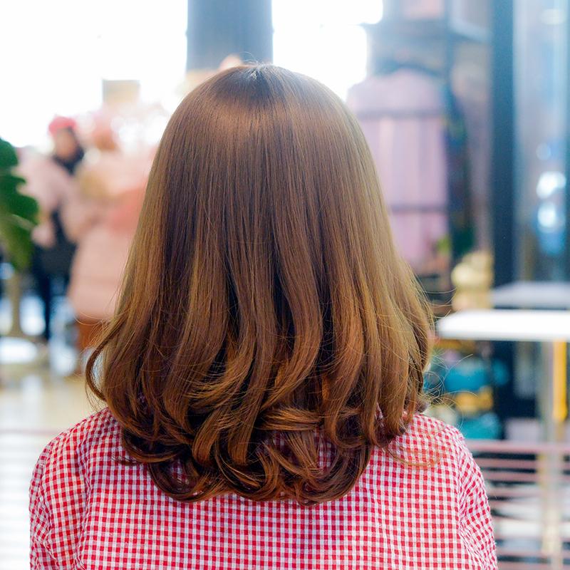 假发女中长发锁骨头套空气刘海蓬松发套修脸卷发圆脸接发补发