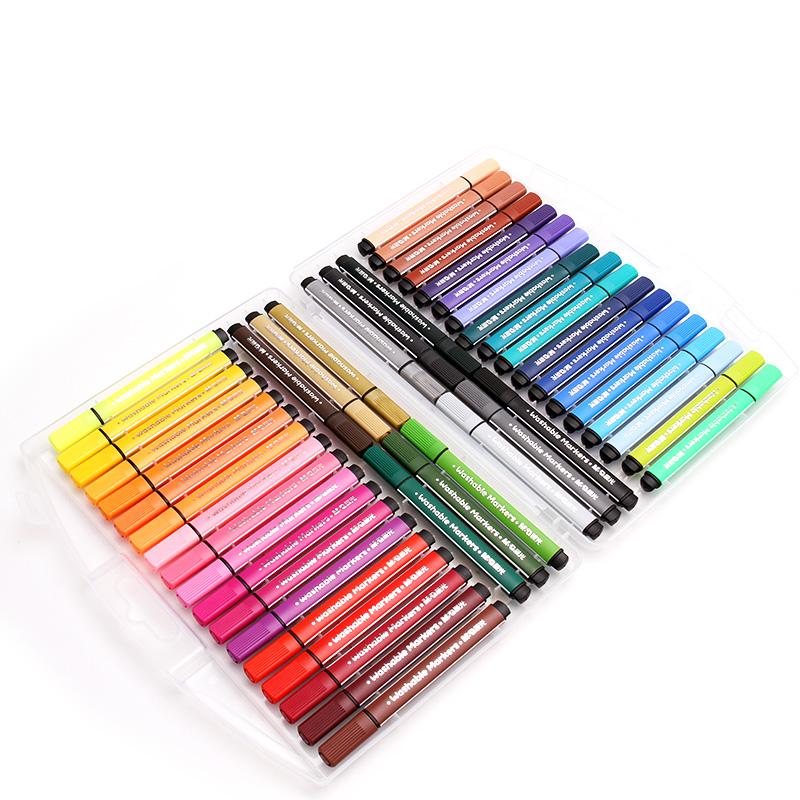 晨光水彩笔套装12色三角大容量儿童24色美术手绘画工具小学生用36色幼儿园48色可洗软头宝宝初学者颜硬粗双头