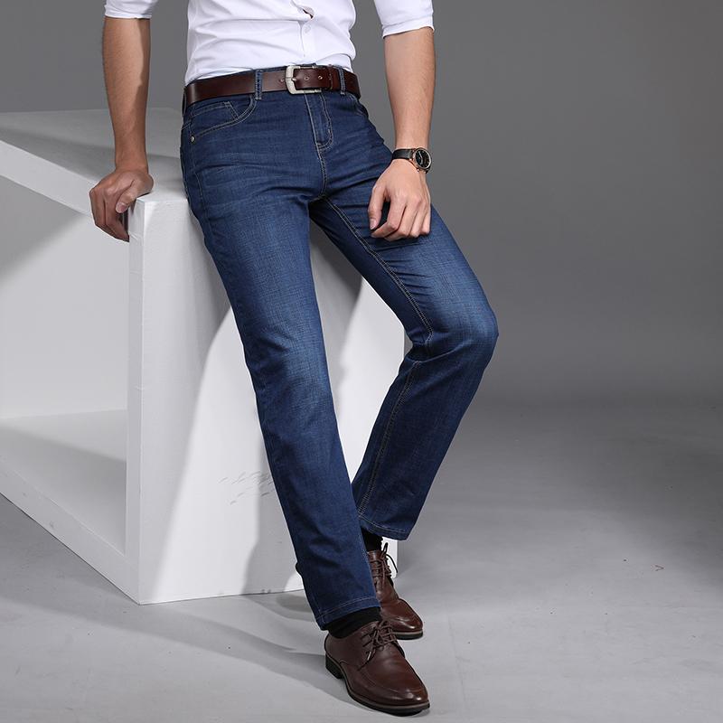 肖维斯男士牛仔2020原创高端夏季薄款潮流宽松直筒弹力时尚休闲裤