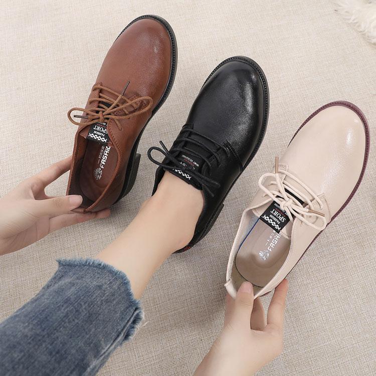 2019新款秋季软底深口单鞋女鞋系带中跟粗跟休闲皮鞋女舒适妈妈鞋