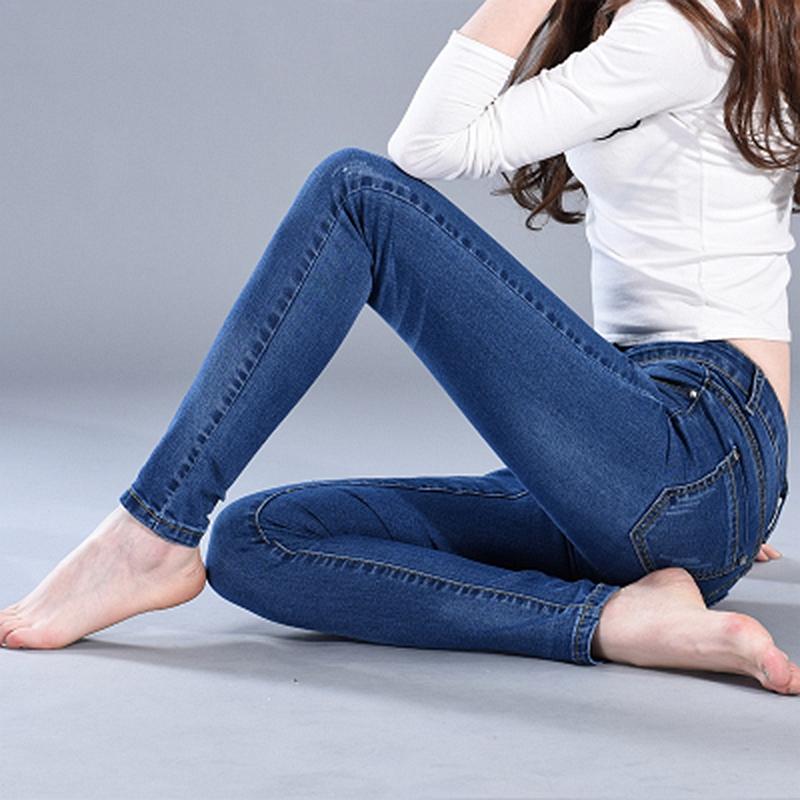 弹力紧身牛仔裤女春秋季韩版高腰显瘦长裤学生百搭小脚裤铅笔裤冬