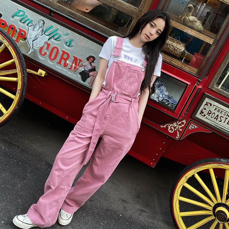欧阳娜娜同款粉色牛仔背带裤女夏季高腰宽松直筒阔腿工装裤连体裤