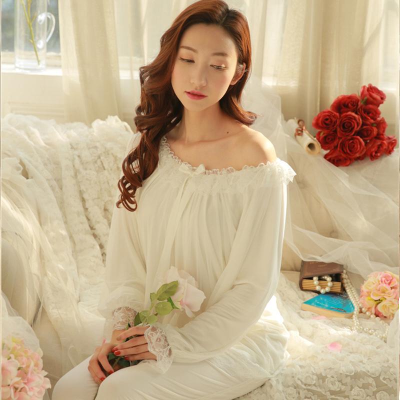 春秋宫廷公主睡衣女秋长袖蕾丝复古欧式睡衣套装韩版家居服女套装图片