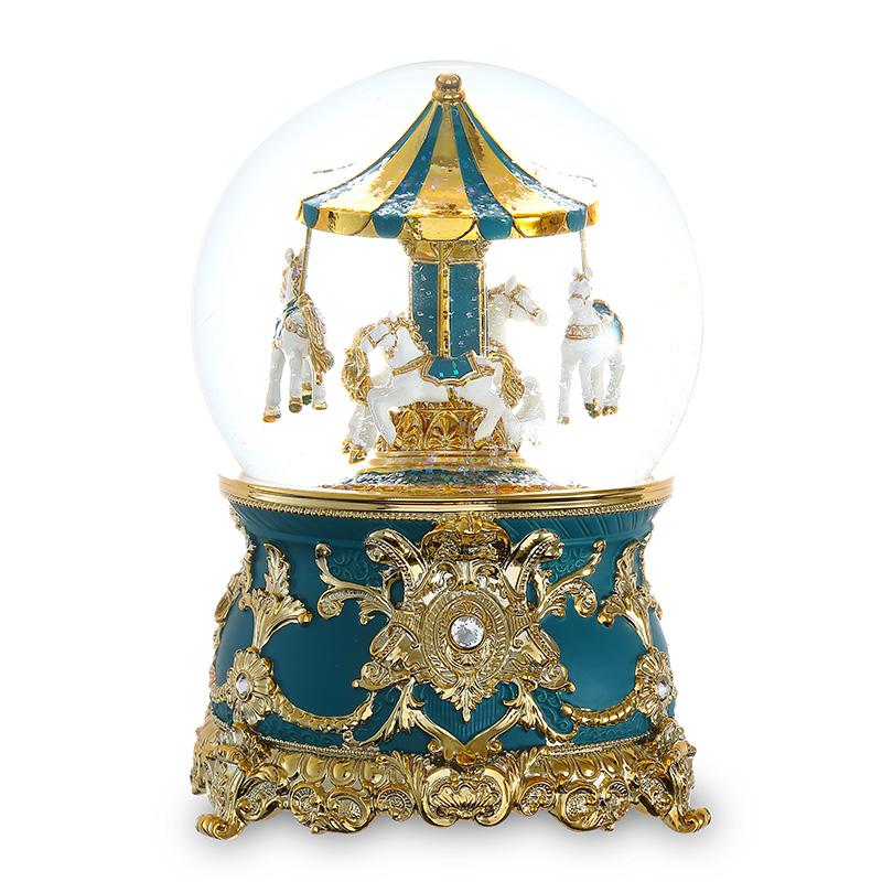 旋转木马水晶球天空之城音乐盒八音盒女生生日情人节礼物 JARLL