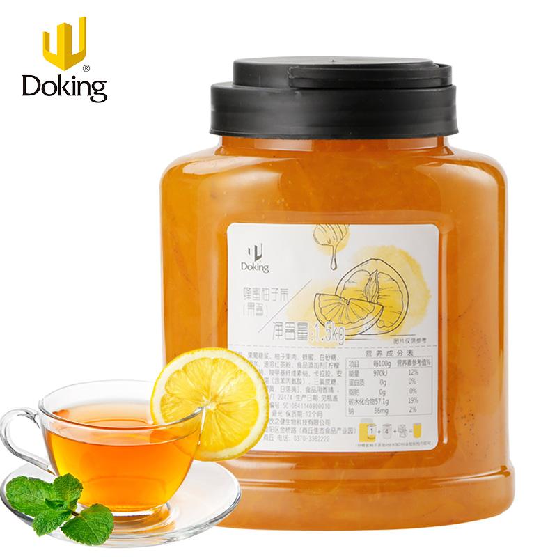盾皇花果茶蜂蜜柚子茶 奶茶冲饮调味原料 果肉花茶浓缩果酱1.5kg