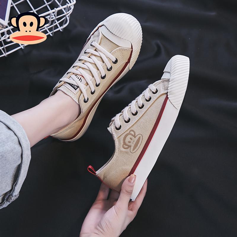 大嘴猴旗舰店官网鞋帆布鞋女2019新款韩版复古港味板鞋女百搭潮鞋