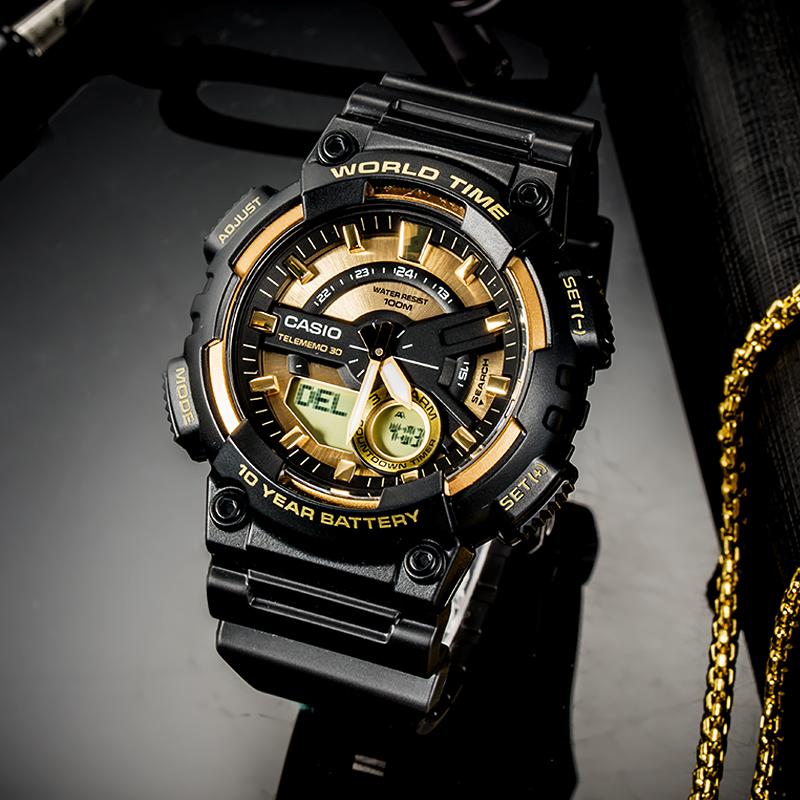 旗舰店日本发货,CASIO 卡西欧 AEQ-110BW-9A 双显防水黑金运动手表+凑单品