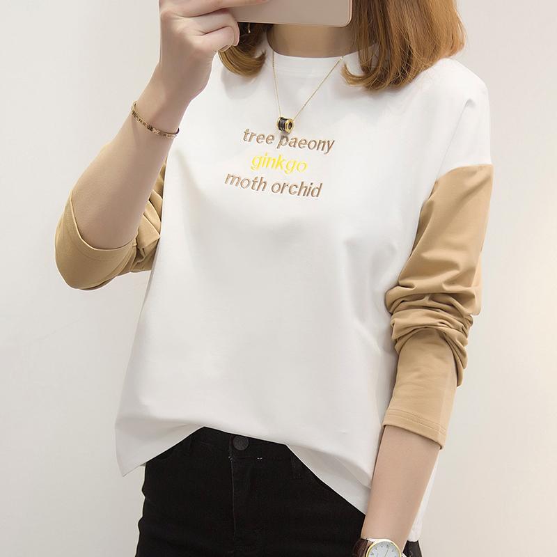 长袖t恤学院风女装2019韩版春装打底衫初中高中学生宽松秋上衣服