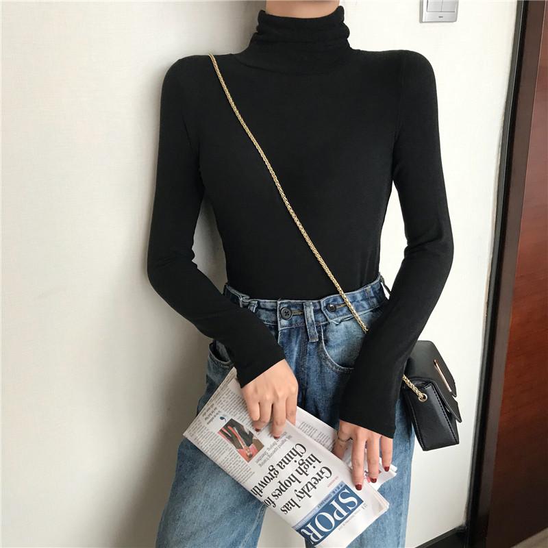 高领打底衫2019新款秋冬季加绒修身显瘦长袖t恤女韩版纯色上衣潮