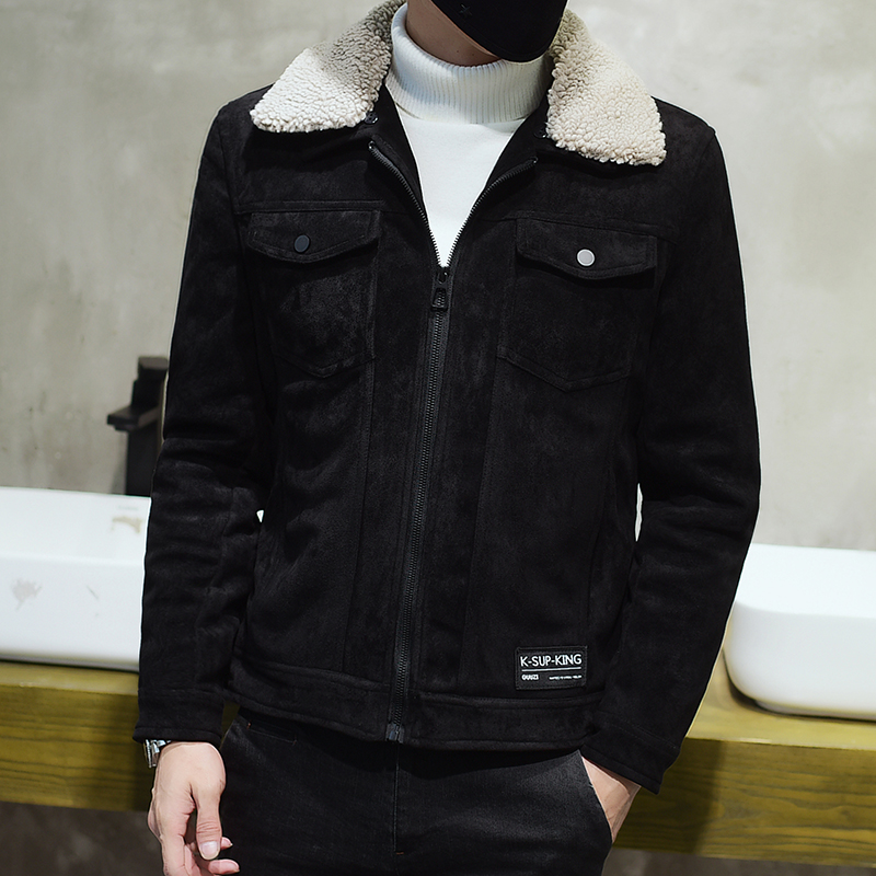2018新款加棉加厚鹿皮绒夹克男士秋冬季外套修身韩版潮流冬装上衣