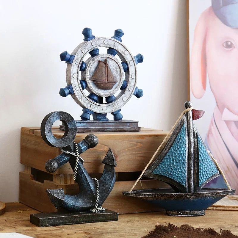 博古架客厅电视柜摆设 创意工业风家居酒柜装饰品 复古工艺品摆件