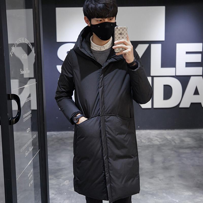 中长款棉衣男2019冬季男士韩版潮流修身加厚黑色连帽修身棉服外套