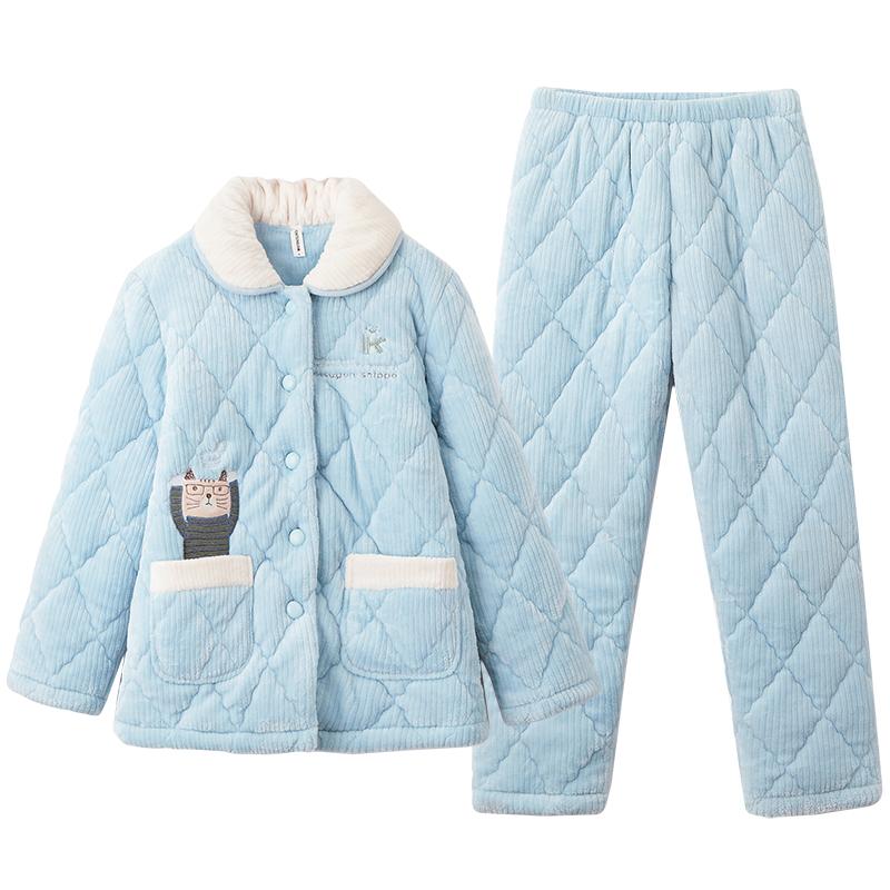 芬腾睡衣女冬季珊瑚绒夹棉三层加厚加绒保暖 甜美可爱家居服套装