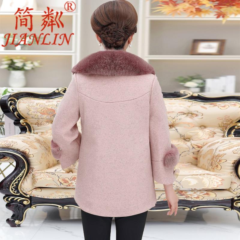 中老年妈妈冬装毛呢外套女2018新款中年女士时尚加棉洋气呢子大衣