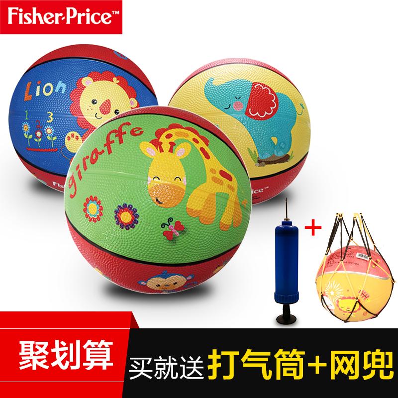 费雪7寸卡通充气皮球宝宝皮球玩具拍拍球无毒橡胶篮球赠送打气筒