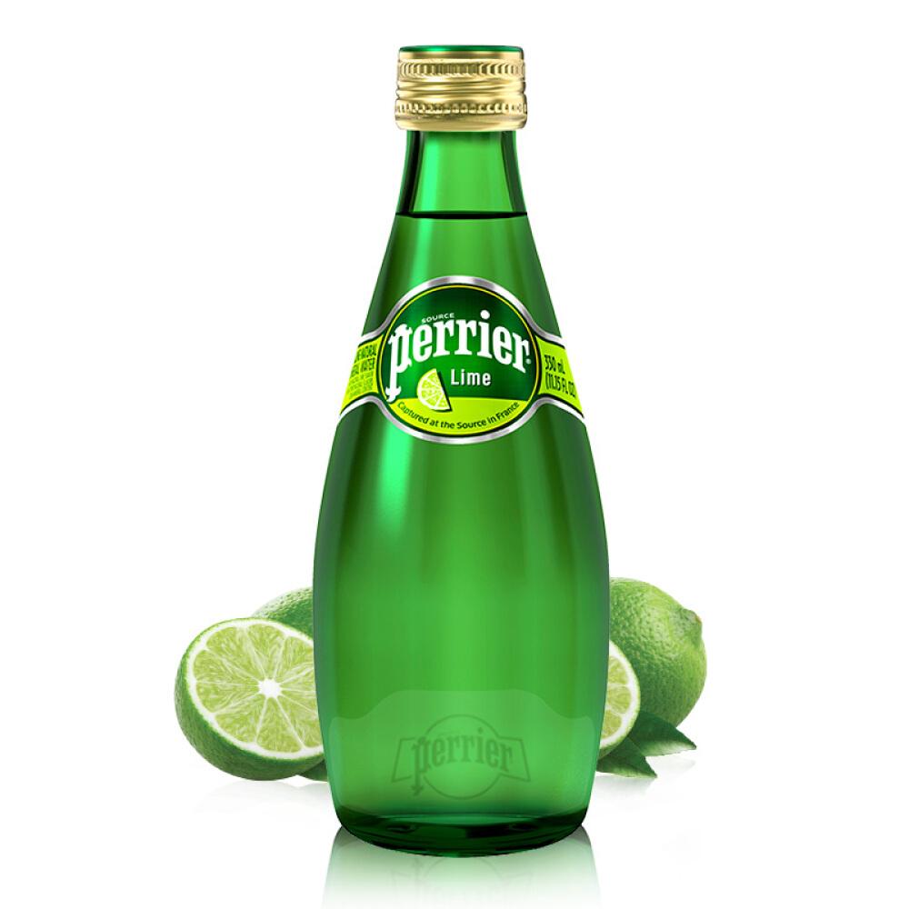 perrier法国巴黎水青柠气泡矿泉水330ml*24瓶气泡水