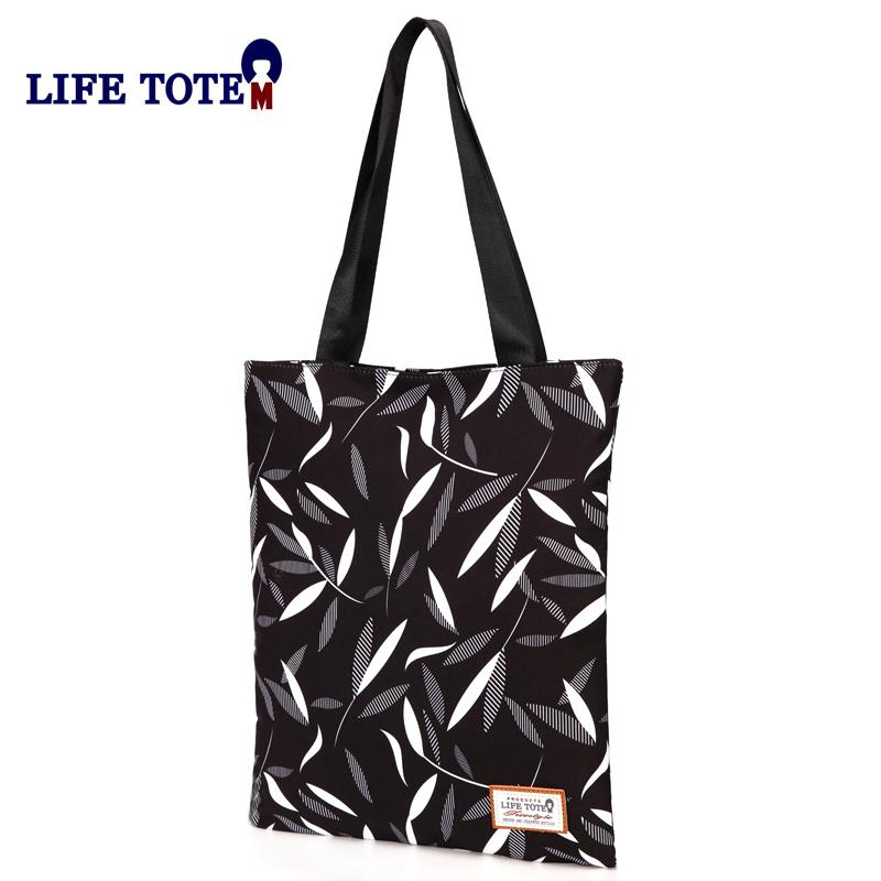 单肩包女帆布折叠文艺印花休闲托特包学生手提书包环保购物袋