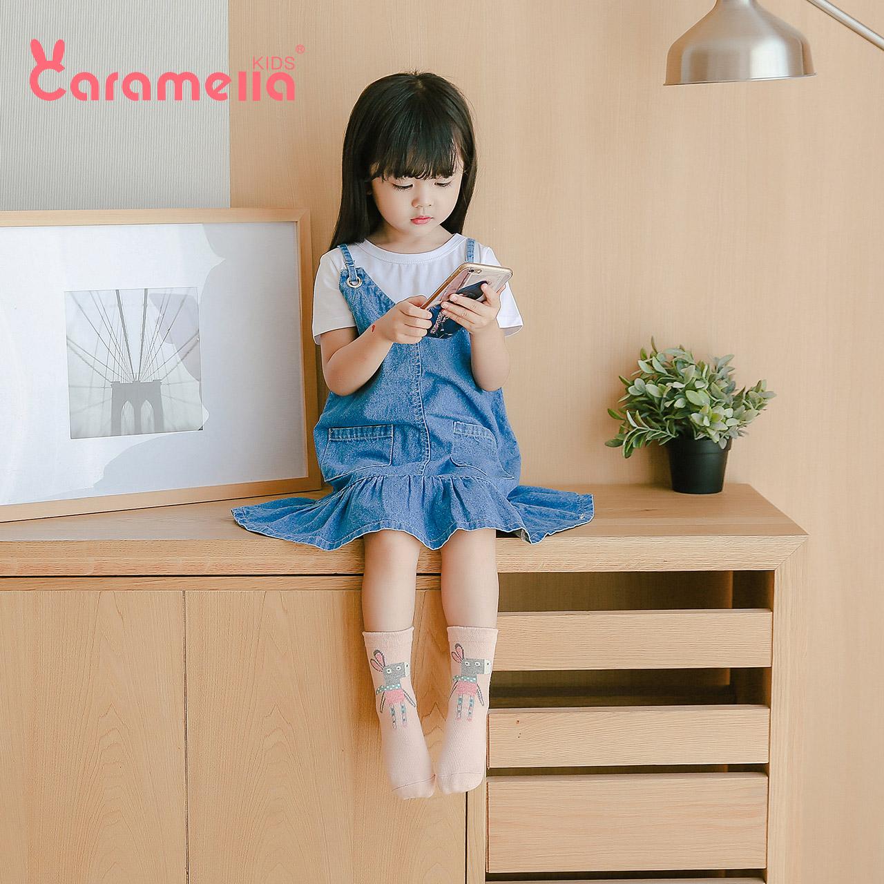 caramella秋冬婴儿袜子纯棉男女童袜儿童中筒袜地板袜宝宝袜子