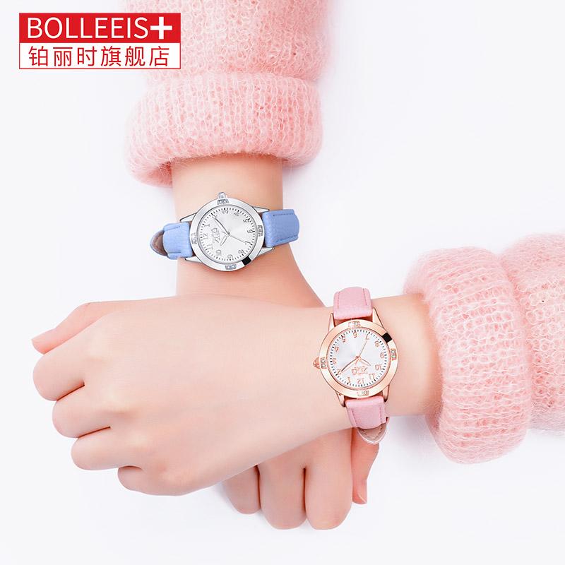 儿童手表女指针式女童手表防水防摔小学生初中女孩韩版12岁电子表