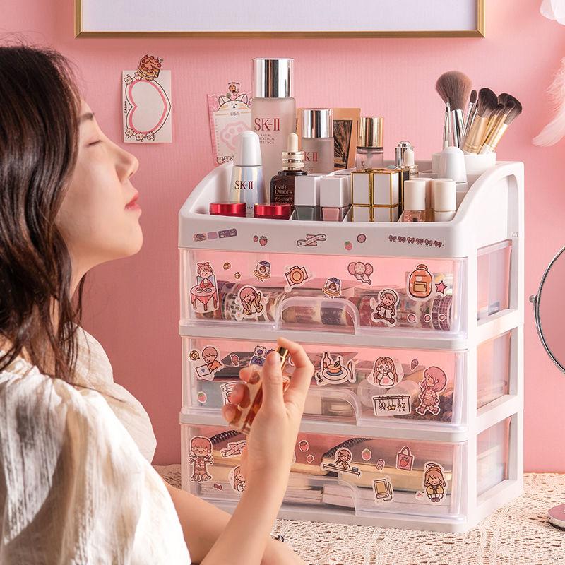桌面化妆品收纳盒塑料收纳架抽屉式首饰盒梳妆台置物架透明整理盒