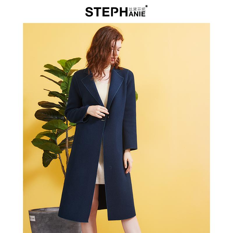 丝黛芬妮2019秋冬新款双面羊毛大衣长款下单送内搭连衣裙买一送一