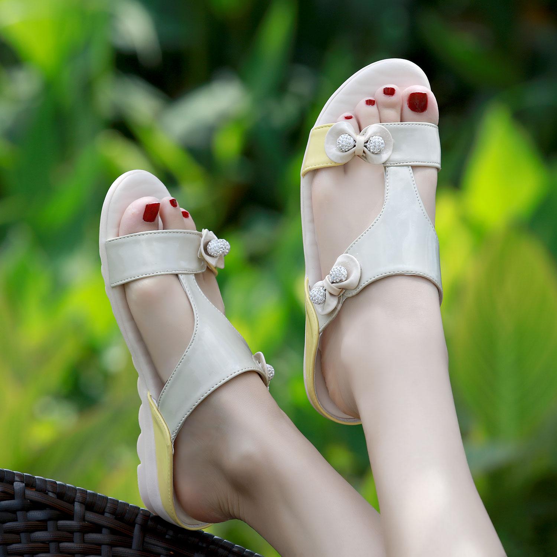 2019夏凉拖鞋女韩版平跟防滑孕妇鞋时尚外穿中跟室外