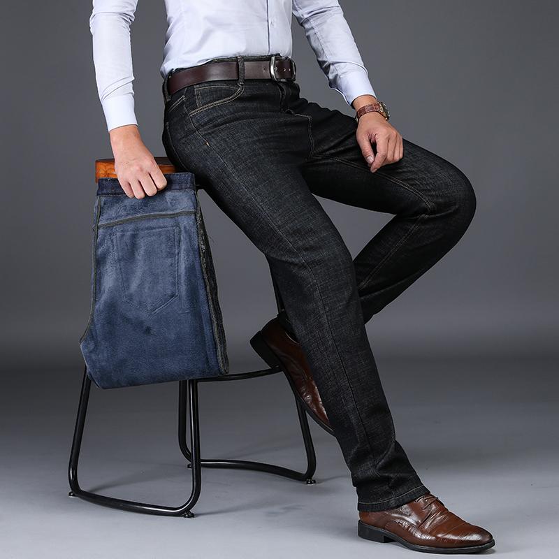冬季男士加绒加厚牛仔裤宽松直筒高腰商务爸爸冬裤中年保暖男裤子