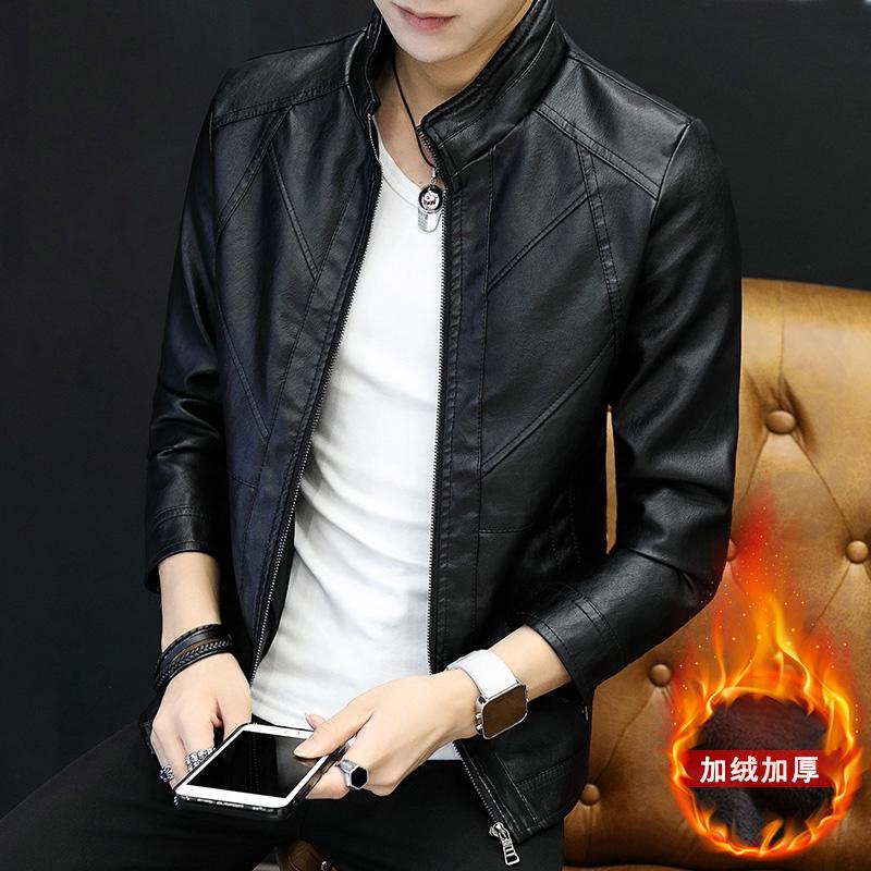 皮衣外套男2018新款修身韩版冬季加绒加厚男士皮夹克青年潮流Q4