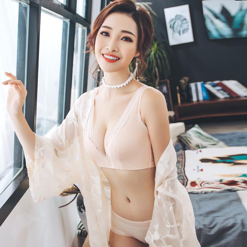 国际女神内衣女蕾丝性感无钢圈上托聚拢收副乳防下垂文胸罩套装