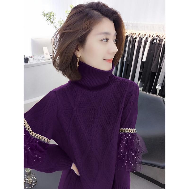 时尚紫色长款针织裙气质连衣裙欧洲站秋季女装2020新款欧货潮秋季