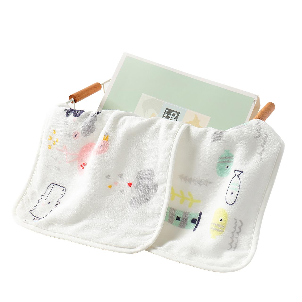 gb好孩子婴儿纱布毛巾纯棉宝宝清洁面巾生态变色感应口水巾洗脸巾