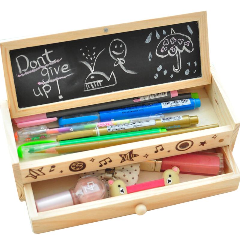 韩国木制文具盒 抽屉铅笔盒 创意男女孩小学生儿童铅笔盒学习用品