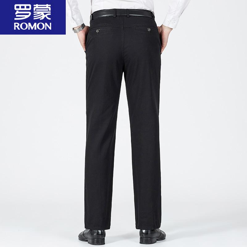 Romon/罗蒙男士休闲裤夏季中老年大版裤纯棉弹力宽松直筒商务西裤