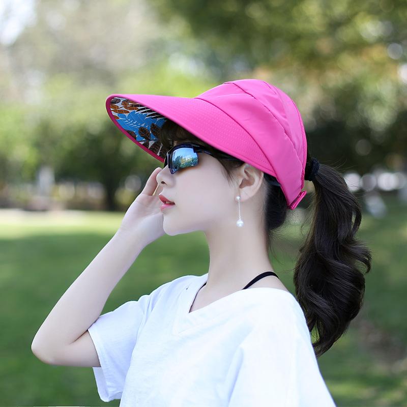 2018春夏女士沙滩太阳帽防紫外线可折叠防晒遮阳帽大檐空顶帽女
